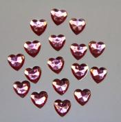 240-Piece Flat Back Acrylic HEART Rhinestones 8mm, Pink