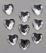 240-Piece Flat Back Acrylic HEART Rhinestones 8mm, Crystal Clear