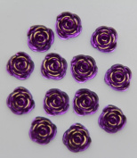 40-Piece Flat Back Acrylic ROSE Rhinestones 15mm, Dark Purple