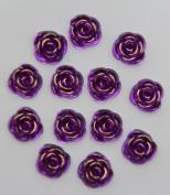 40-Piece Flat Back Acrylic ROSE Rhinestones 15mm, Dark Purple