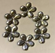 140-Piece Flat Back Acrylic FLOWER Rhinestones 12mm, Crystal Clear