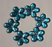 140-Piece Flat Back Acrylic FLOWER Rhinestones 12mm, Aqua Blue