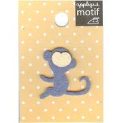 Blue Monkey Design Small Iron-on Applique