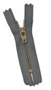 7.6cm PANTS Zippers - YKK #4.5 PANTS Antique Brass ~ A914 Medium Grey