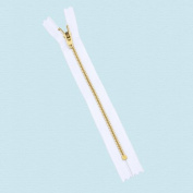 7.6cm YKK Pants Brass Zipper #4.5- White