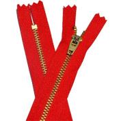 18cm YKK Pants Brass Zipper #4.5 - Hot Red 519