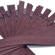 18cm Zipper TALON Nylon Coil Zippers ~ Closed Bottom ~ 792 MAHOGANY