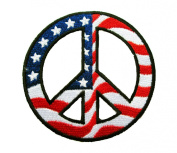 Hippie Emoticon Embroidered USA Flag Patches Iron on Appliques