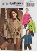 OOP Butterick Pattern B4865. Misses Szs 16/18 & 20/22 Unlined, Raglan Sleeve Jacket & Belt