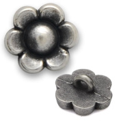 Metal Flower Button with Shank 0.6cm Silver by each