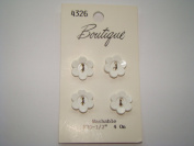 White Flower Buttons - Pkg. of 4