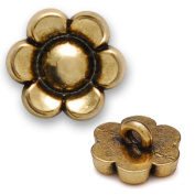 Metal Flower Button with Shank 0.6cm Gold by each