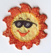 Shimmery Sun with Sunglasses Iron On Embroidered Applique Patch