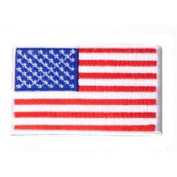 USA Military American Embroidered Flag Patch White Border
