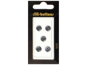 Dill 2 Hole Buttons 0.8cm . Black #1640 5pc.