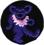 Dancing Bear - Round Purple Bear With Pink Necklace - Embroidered Sew or Iron on Patch