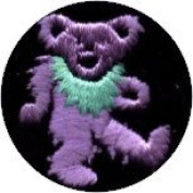 Dancing Bear - Round Purple Bear With Green Necklace - Embroidered Sew or Iron on Patch
