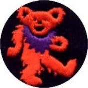 Dancing Bear - Round Orange Bear With Purple Necklace - Embroidered Sew or Iron on Patch