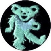 Dancing Bear - Round Green Bear With Blue Necklace - Embroidered Sew or Iron on Patch