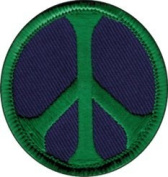 Peace Sign - Green On Purple - Embroidered Sew or Iron on Patch