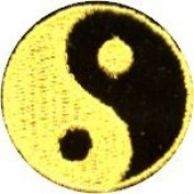 Yin Yang - Yellow and Black Round - Embroidered Sew or Iron on Patch