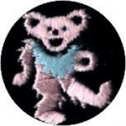 Dancing Bear - Round Pink Bear With Green Necklace - Embroidered Sew or Iron on Patch