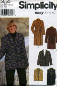 Simplicity Easy to Sew Coat, Jacket and Vest in Two Lengths Sewing Pattern # 5855