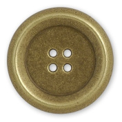 Metal Blazer Button with 4-Hole 2.5cm - 0.3cm Antique Brass by each, BEA-20945