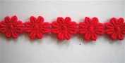 Red Mini Daisy Venice Lace Trim .13cm By The Yard