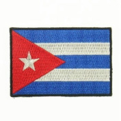 Cuba Flag Logo Embroidered Iron on or Sew on Patch