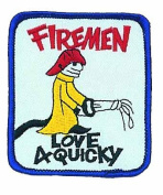 Fireman Love Quickie Logo Embroidered Iron on or Sew on Patch