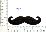 Black Handlebar Moustache Iron On Embroidered Patch 10cm Retro