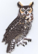 Great Horned Owl Iron On Embroidered Applique Patch