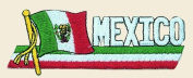 Mexico with Flag Logo Embroidered Iron on or Sew on Patch