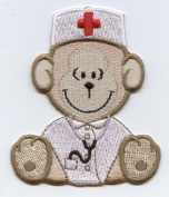 Nurse Bear Sitting Iron on Embroidered Applique Patch