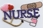 Blue Nurse with Hearts, Stethoscope, Bandaid and Medicine Iron On Patch