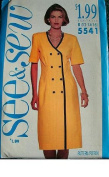 MISSES DRESS SIZE 12-14-16 VERY EASY SEE & SEW BY BUTTERICK 5541