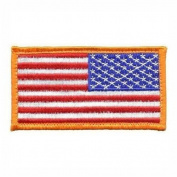 Military USA American hook and loop REVERSED Flag Patch Gold Border