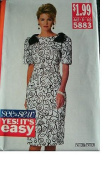 MISSES MISSES PETITE DRESS SIZE 6-8-10 VERY EASY SEE & SEW BY BUTTERICK 5883