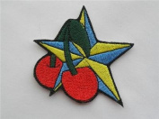 Nautical star cherry goth iron on patch rockabilly