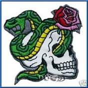 Rattlesnake Rose Skull iron on Patch Applique
