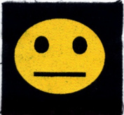 Straight Faced Happy Face / Smiley Face - Screenprinted Sew On or Pin On Cloth Patch