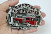 new volunteer fire fighter red fire engine belt buckle WT007