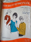 LADIES KNIT TOP SZ 8-10-12 VINTAGE 1970 SEWING PATTERN FROM SEW-KNIT-N-STRETCH SEWING PATTERN #303