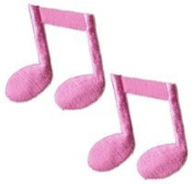 Music Note - Pink 1/8 2 for 1 ! - Embroidered Sew or Iron on Patch