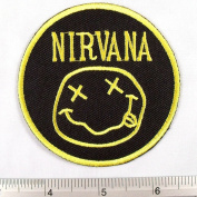 Nirvana American Rock Band Iron on Patch Embroidered Racing DIY T-shirt Jacket 7.6cm x 7.6cm Yellow