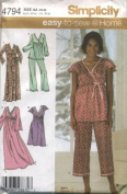 Simplicity Easy to Sew Misses' Pyjamas, Nightgown and Robe # 4794