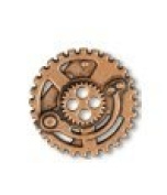 Steampunk Gears Button - Copper finish - 1.6cm