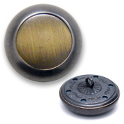 Round Metal Button with Shank 2.1cm Brushed Antique Silver/Oxyd. Black by each BEA-20941