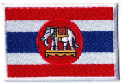 Thailand Flag Embroidered Patch Thai Iron on National Emblem 7.6cm X 5.3cm